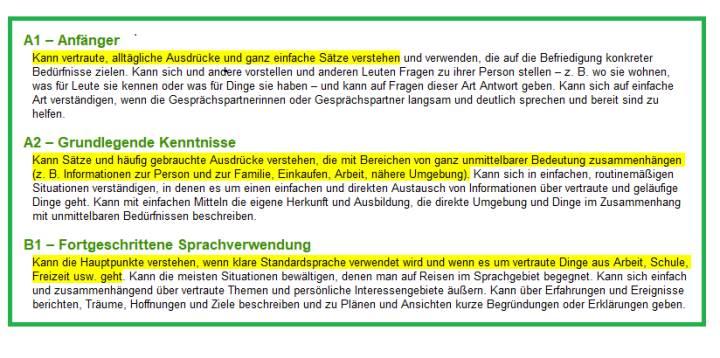Beschreibung der Kompetenzen in den verschiedenen Niveaustufen.